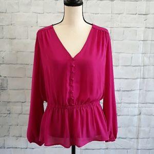 Worthington Pink Blouse Long sleeve Sz L 0174
